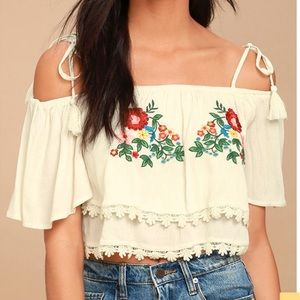 Lulus Cream Embroidered Off-the-Shoulder Crop Top